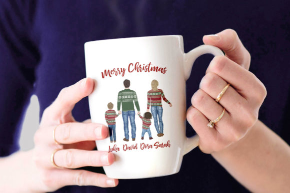 Winter Family Christmas Clipart Graphic Design Item