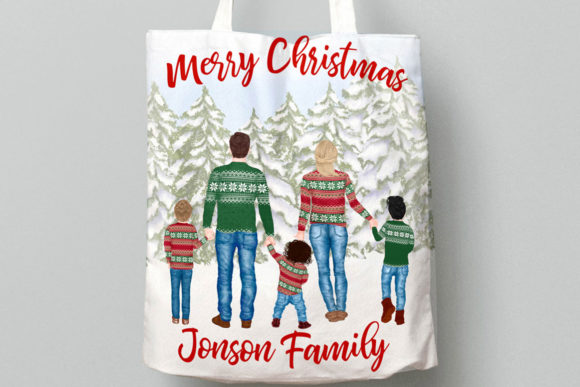 Winter Family Christmas Clipart Graphic Downloadable Digital File