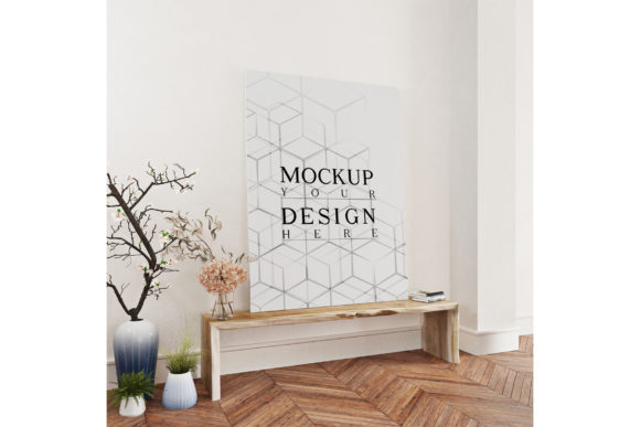 Console Table with Mockup Poster Canvas Graphic Product Mockups By izharartendesign