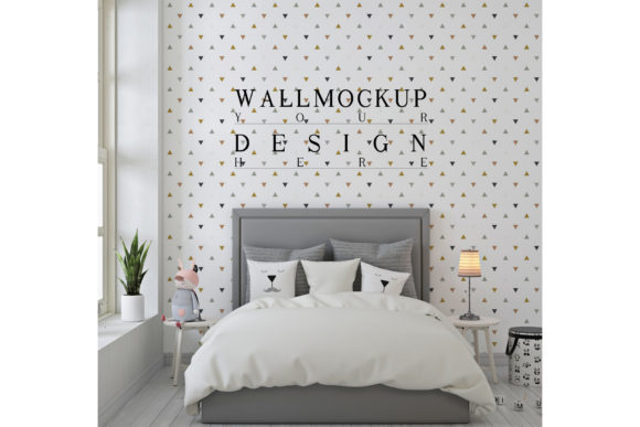 Grey Kids Bedroom with Mockup Wall Graphic Product Mockups By izharartendesign