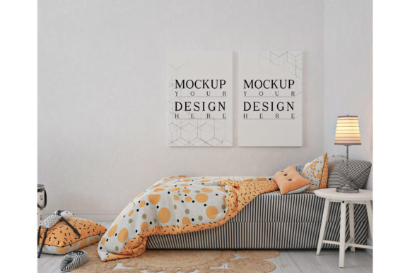 Kids Bedroom with Mockup Poster Frame Graphic Product Mockups By izharartendesign