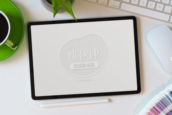 Mock Up Tablet on White Table Graphic Product Mockups By bongkarngraphic