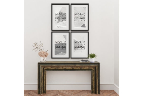 Mockup Poster Frame with Console Table Graphic Product Mockups By izharartendesign