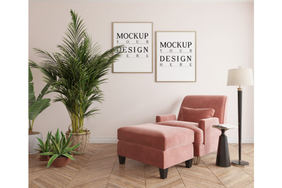 Pink Arm Chair and Ottoman with Poster Graphic Product Mockups By izharartendesign