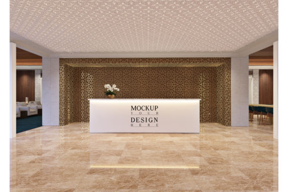 Receptionist Table Mockup in Fancy Hotel Graphic Product Mockups By izharartendesign