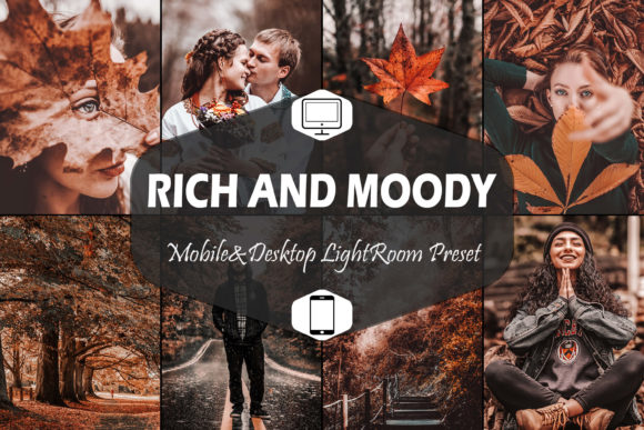 Print on Demand: 10 Rich and Moody Lightroom Presets Graphic Actions & Presets By Mattte Studio