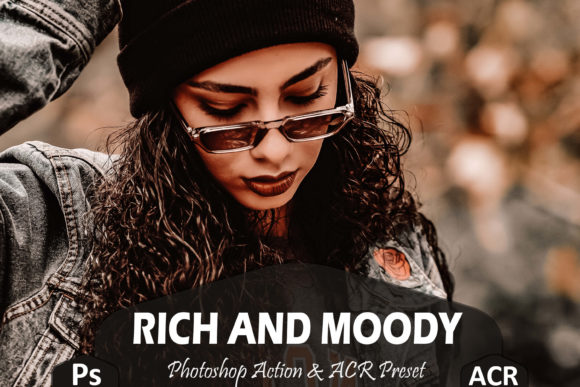 Print on Demand: 10 Rich and Moody Photoshop Actions Graphic Actions & Presets By Mattte Studio