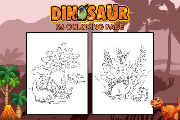 Print on Demand: 26 Dinosaurs Coloring Pages Pdf Graphic Coloring Pages & Books Kids By MK DESIGN
