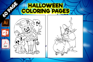 Print on Demand: 60 Halloween Coloring Pages for Kids Graphic Coloring Pages & Books Kids By MK DESIGN