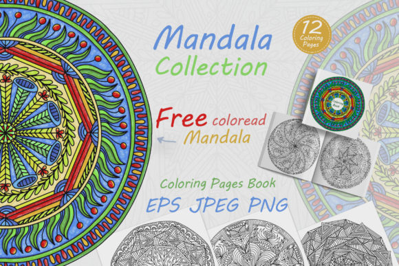 Abstract Mandalas with Folk Ornamens Graphic Coloring Pages & Books Adults By FolkStyleStudio