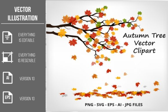 Autumn Tree Vector Clipart Graphic Illustrations By artnovi