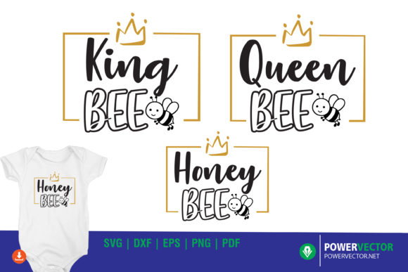 Bee Family, King Queen Shirt Designs Graphic Crafts By PowerVECTOR