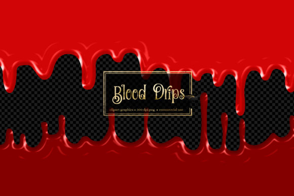 Print on Demand: Blood Drips Clip Art Graphic Illustrations By Digital Curio