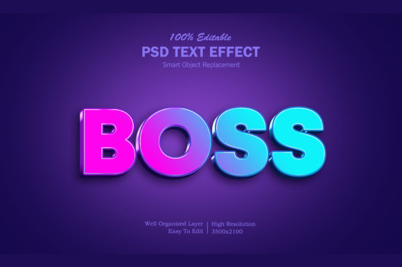Boss 3D Gradient Text Effect Graphic Layer Styles By goldani412