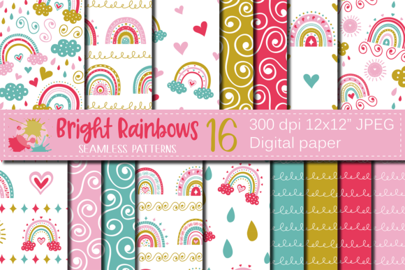Bright Rainbows Digital Paper / Patterns Graphic Patterns By VR Digital Design
