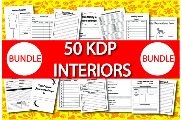 Print on Demand: Bundle Pack 50 KDP Interiors Gráfico KDP Interiors Por Ivana Prue