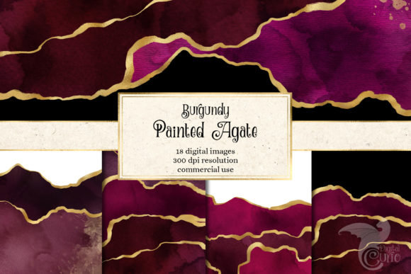 Print on Demand: Burgundy Painted Agate Graphic Textures By Digital Curio