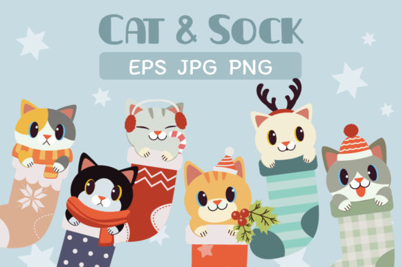 Cat in Sock Graphic Illustrations By Guppic the duck