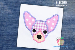 Chihuahua Dog Puppy Face Applique Hunde Stickdesign von embroiderydesigns101