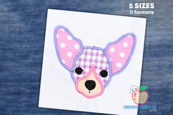 Chihuahua Dog Puppy Face Applique Dogs Embroidery Design By embroiderydesigns101