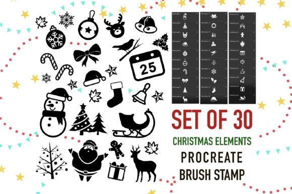Print on Demand: Christmas Element Stamp Brush Procreate Graphic Brushes By Duckyjudy