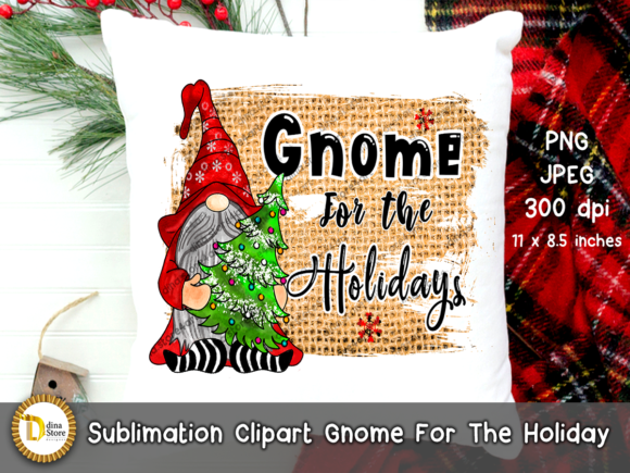 Print on Demand: Christmas Sublimation Gnome for Holidays Gráfico Crafts Por dina.store4art