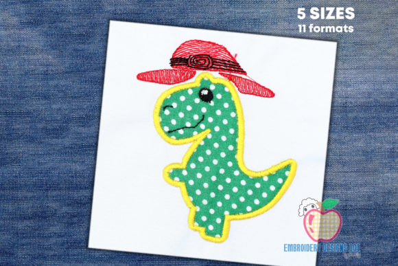 Cowboy Dinosaur Applique Design Dinosaurs Embroidery Design By embroiderydesigns101