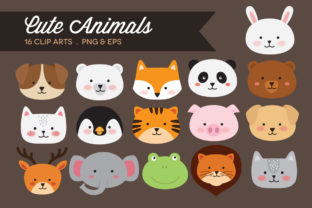 Cute Animal Face Clipart Graphic Illustrations By peachycottoncandy