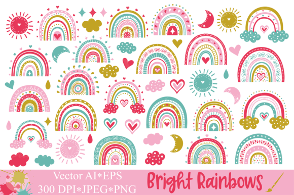 Cute Bright Rainbows Clipart / Graphics Graphic Illustrations By VR Digital Design
