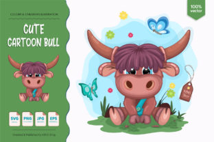 Cute Cartoon Bull Gráfico Ilustraciones Por Keno Shop