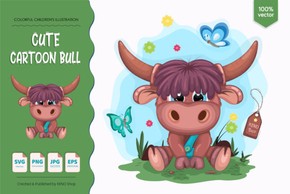 Cute Cartoon Bull Graphic Illustrations By Keno Shop