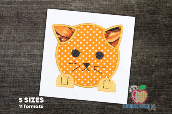 Cute Cat Face Applique for Kids Cats Embroidery Design By embroiderydesigns101