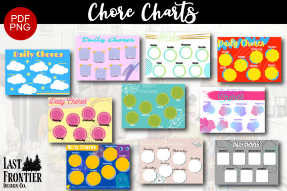 Daily Chore Charts Graphic Teaching Materials By Last Frontier Design Co.