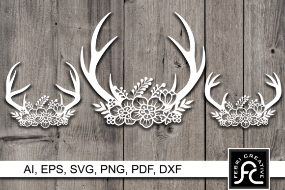 Print on Demand: Deer Antler Flower Paper Cut Design SVG Graphic Crafts By Febri Creative