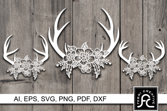 Print on Demand: Deer Antler Flower Paper Cut SVG Graphic Crafts By Febri Creative