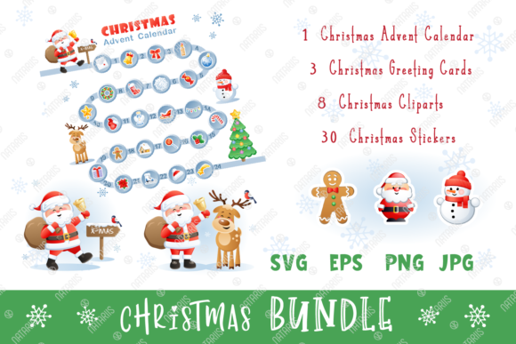 Digital Christmas Set with Funny Santa. Graphic Illustrations By Natariis Studio