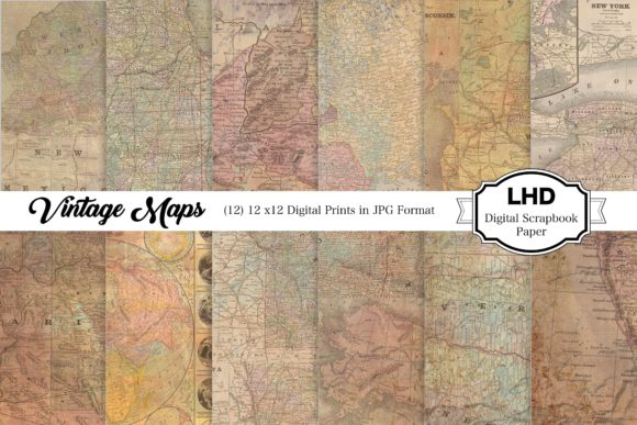 Digital Paper Vintage Map Collage Graphic Patterns By LeskaHamatyDesign