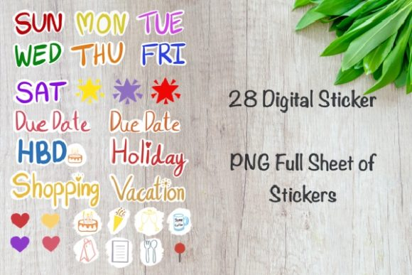 Digital Stickers Set for Planner Graphic Illustrations By Aloe_wannaart