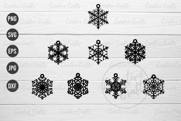 Print on Demand: Earrings Snowflakes Pendant Jewelry Graphic Print Templates By Creative Crafts