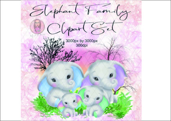 Elephant Family Clipart Set Graphic Illustrations By Marelia Designs