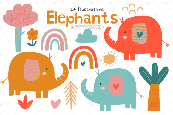 Print on Demand: Elephants Clipart Set Grafik Illustrationen von poppymoondesign