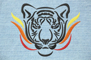 Print on Demand: Fiery Tiger Face Large Wild Animals Embroidery Design By EmbArt