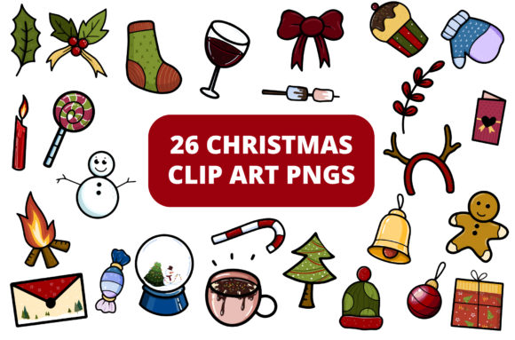Print on Demand: Free Christmas Clipart Set - 26 Elements Graphic Illustrations By MikeToon Studio