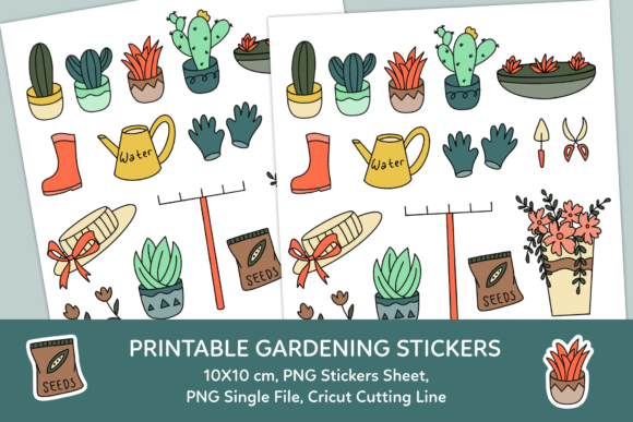 Print on Demand: Gardening Printable Stickers Sheet Graphic Illustrations By haifebruary