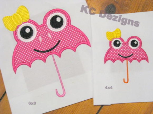 Girl Frog Umbrella Embroidery