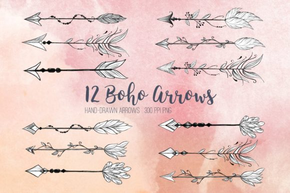 Hand Drawn Boho Arrows Clipart Graphic Illustrations By peachycottoncandy