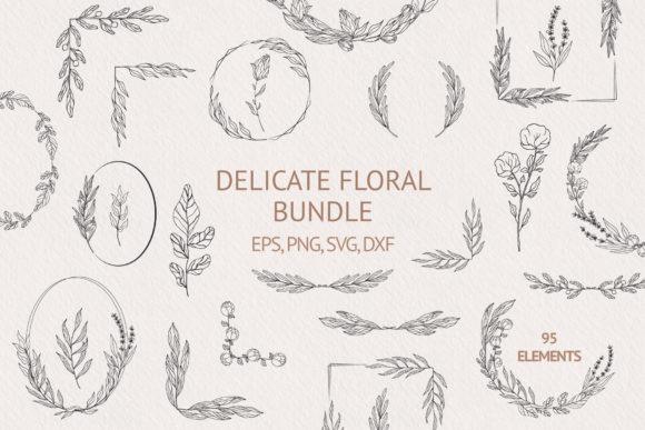 Hand Drawn Delicate Floral Bundle Graphic