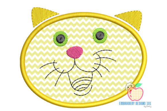 Happy Cat Face Applique Pattern Embroidery Download