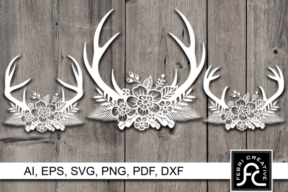 Print on Demand: Horn Flower Paper Cut Design SVG / DXF Graphic Crafts By Febri Creative