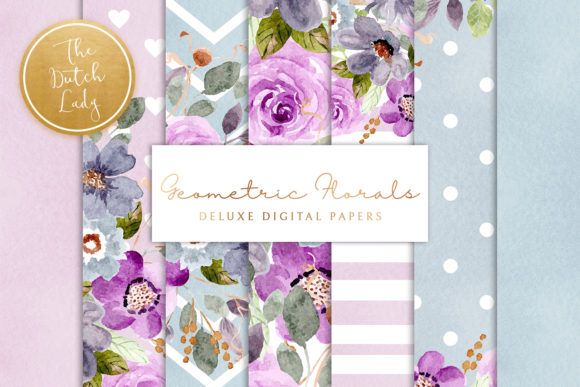 Print on Demand: Lavender Floral Geometric Patterns Graphic Patterns By daphnepopuliers